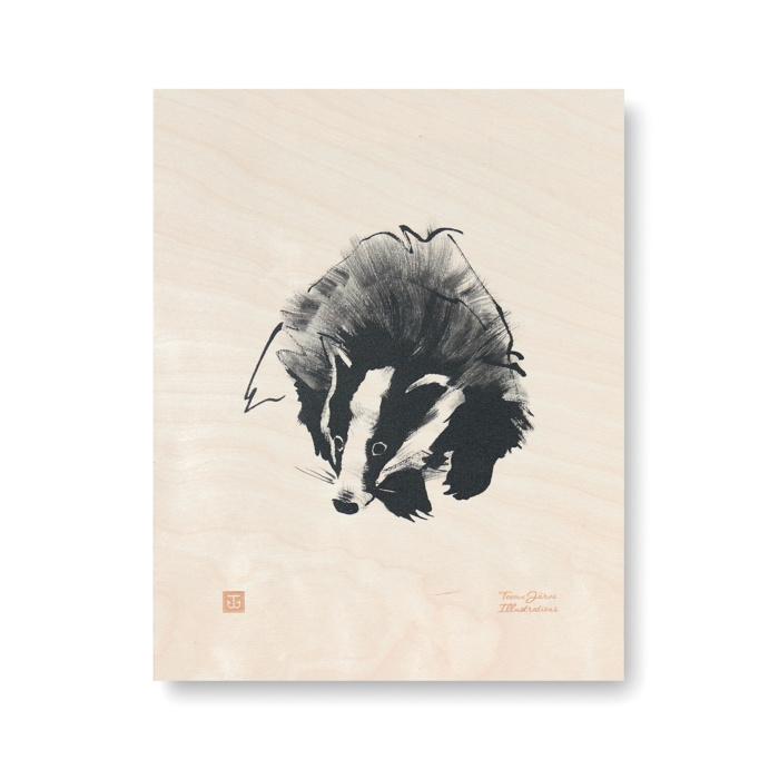 badger plywood art print poster by teemu jarvi