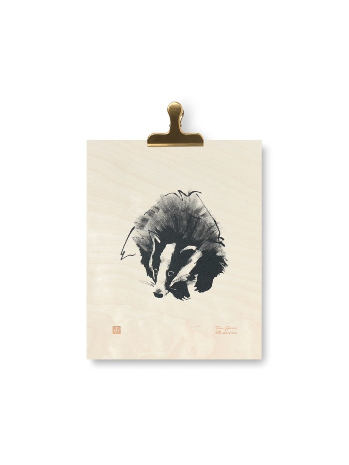 Badgers are persistent animals that never give up! This plywood poster is a special art piece that brings positive forest energy to your home.