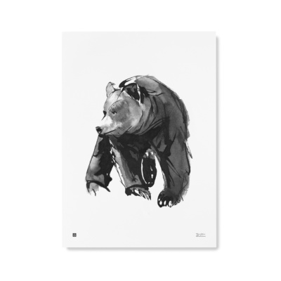 Gentle Bear wall art print - black & white poster - Teemu Järvi Illustrations