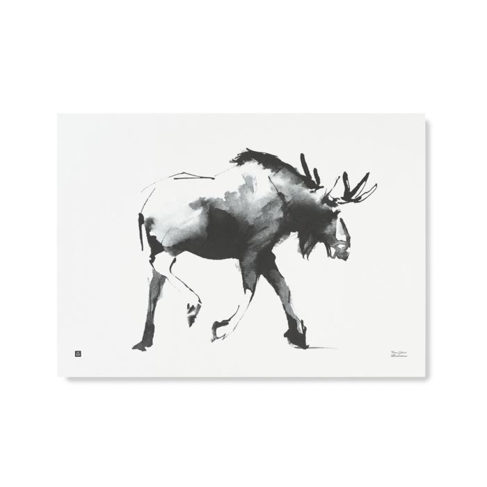 elk art print by teemu jarvi - black and white