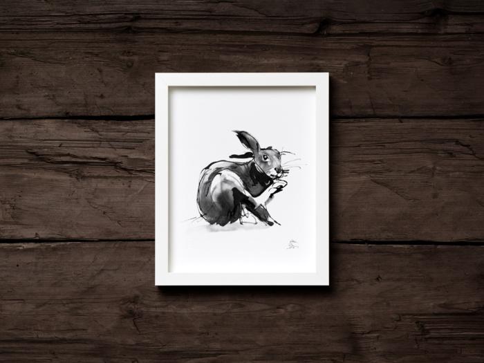 Black & White hare fine art print