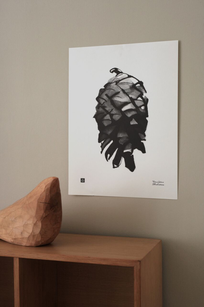 Black & white pine cone poster