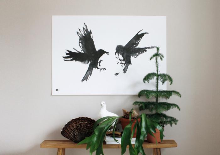 Black & whit raging ravens art print