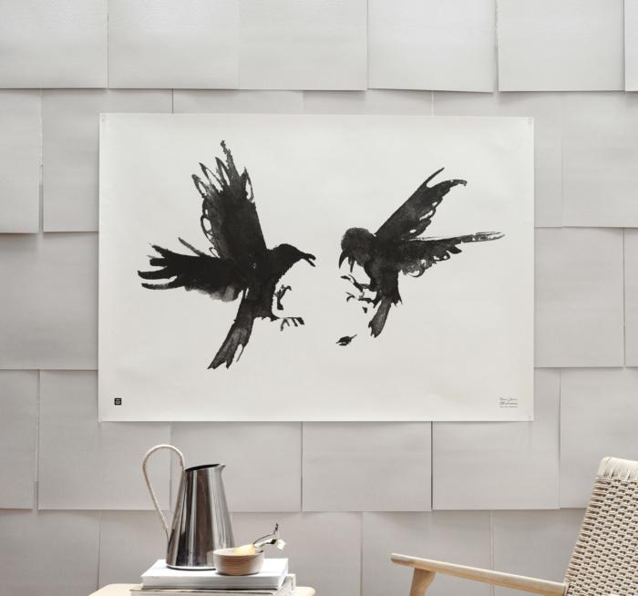 Black & white raging ravens poster