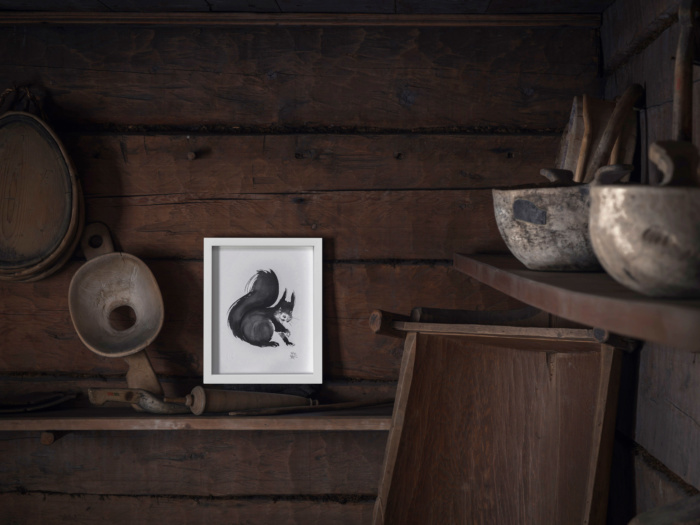 squirrel framed wall art