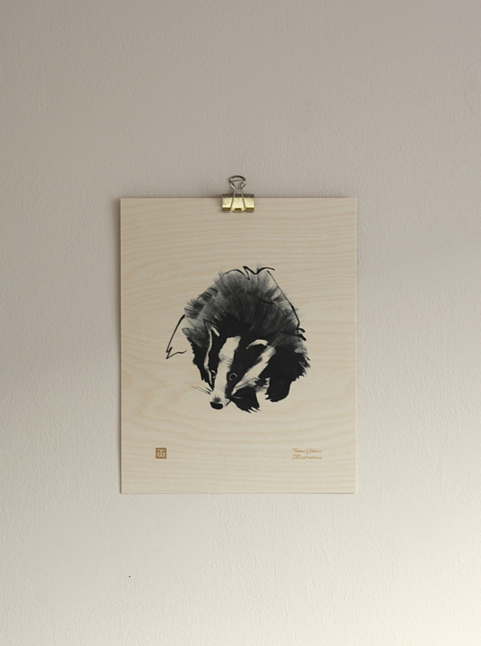 Badger wooden wall art