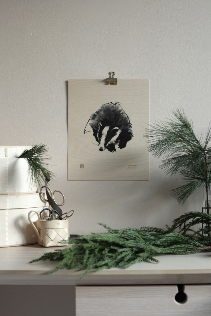 Badger wooden poster