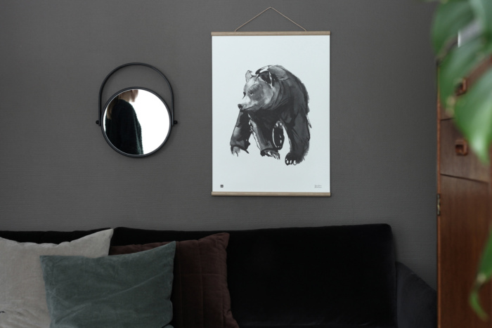 Black & white gentle bear poster