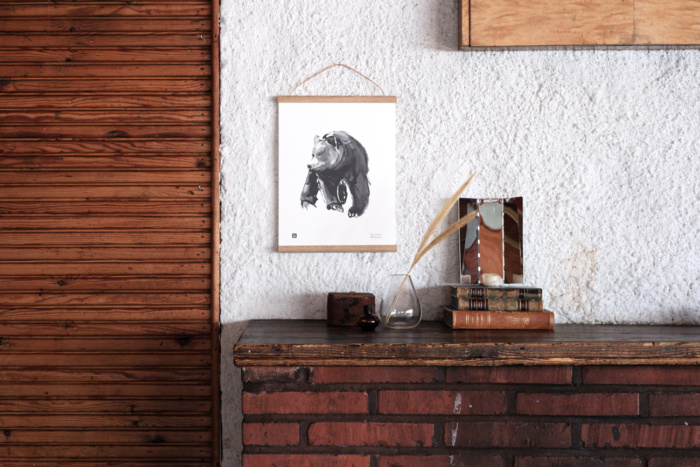 Black & white Gentle bear framed poster