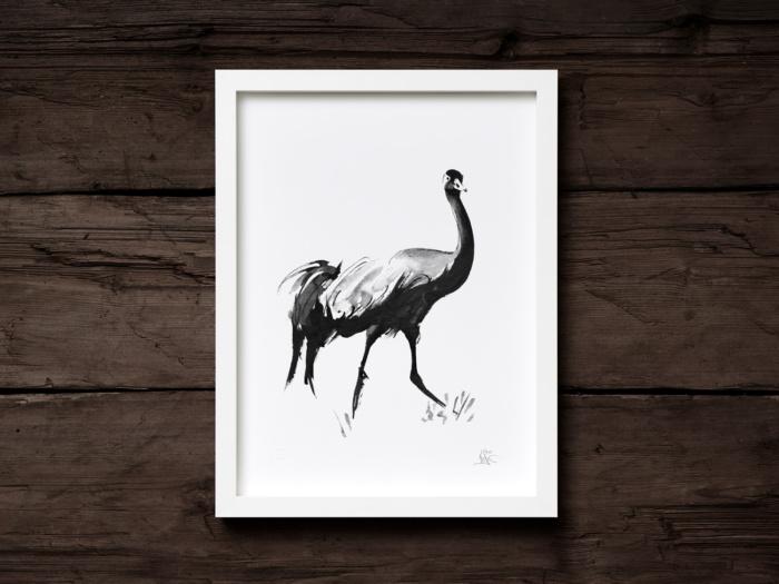 Crane framed wall art