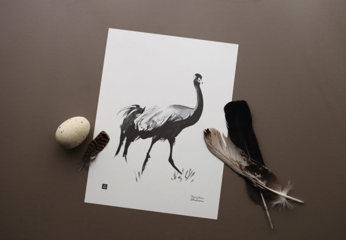 Black & white Crane art print