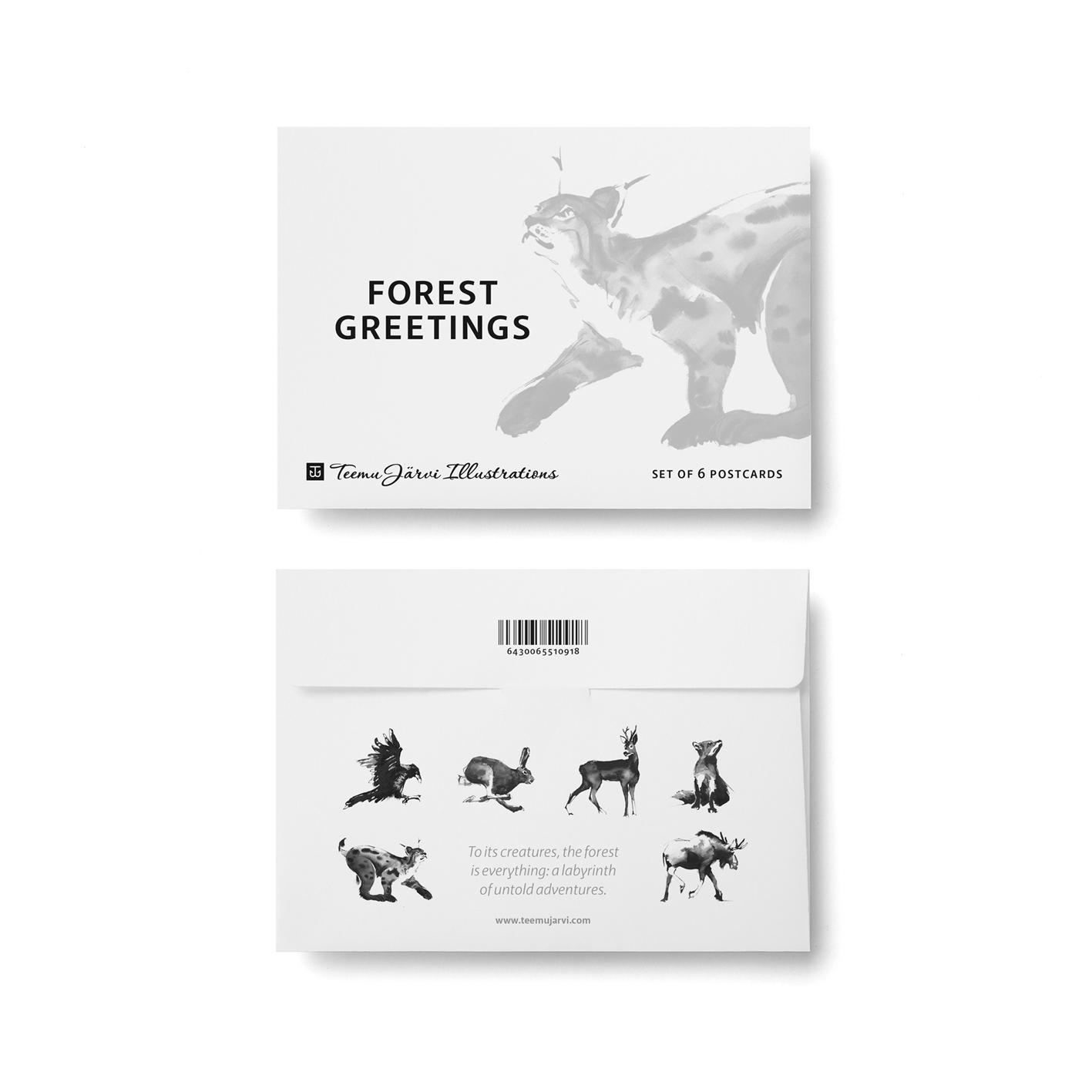 Forest Greetings -postikorttisetti
