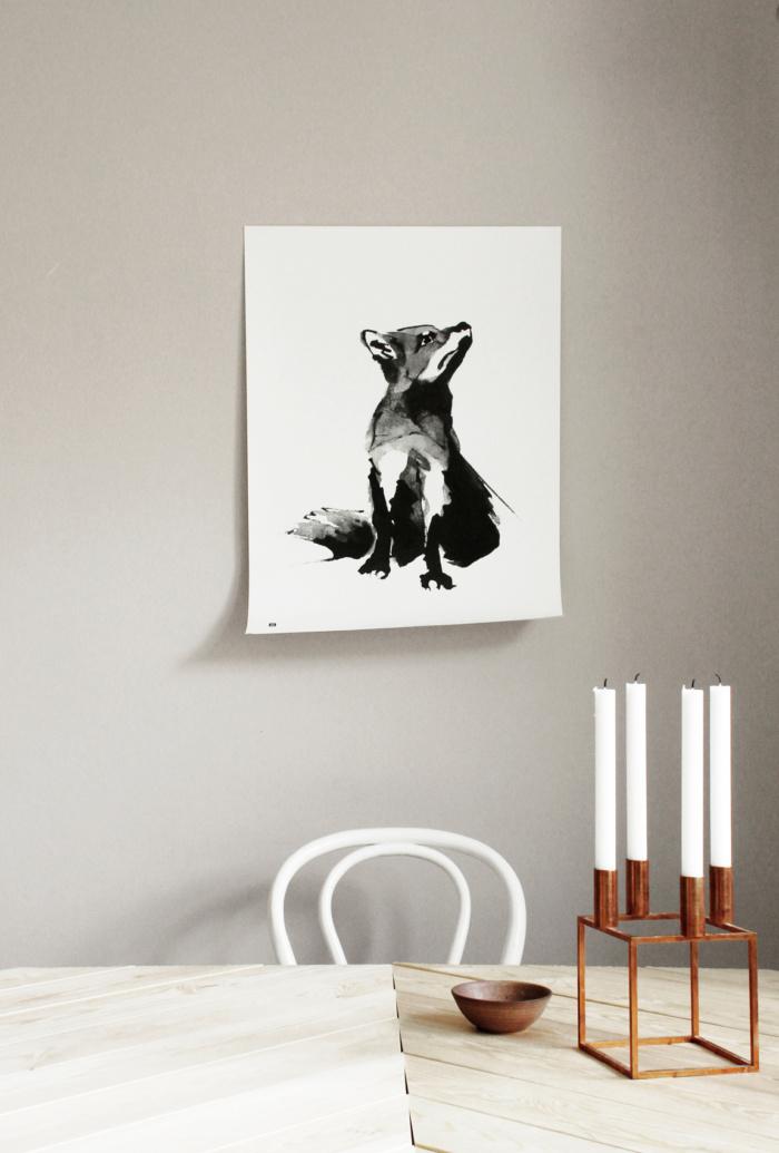 Black & white fox wall decor