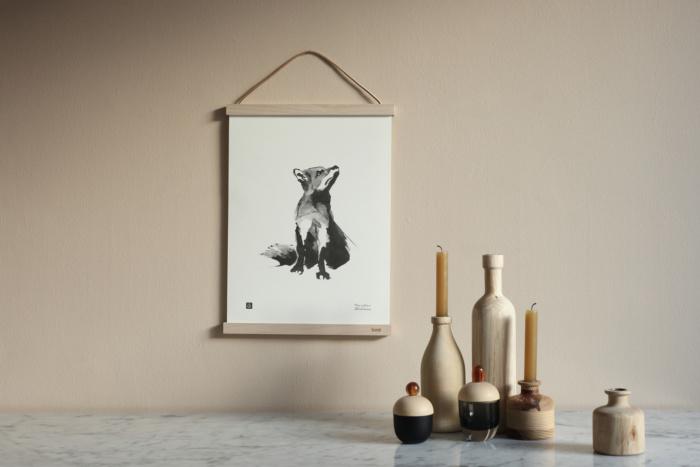 Framed fox art print poster