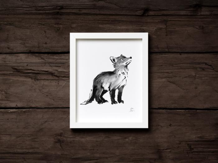 Fox cub framed wall art
