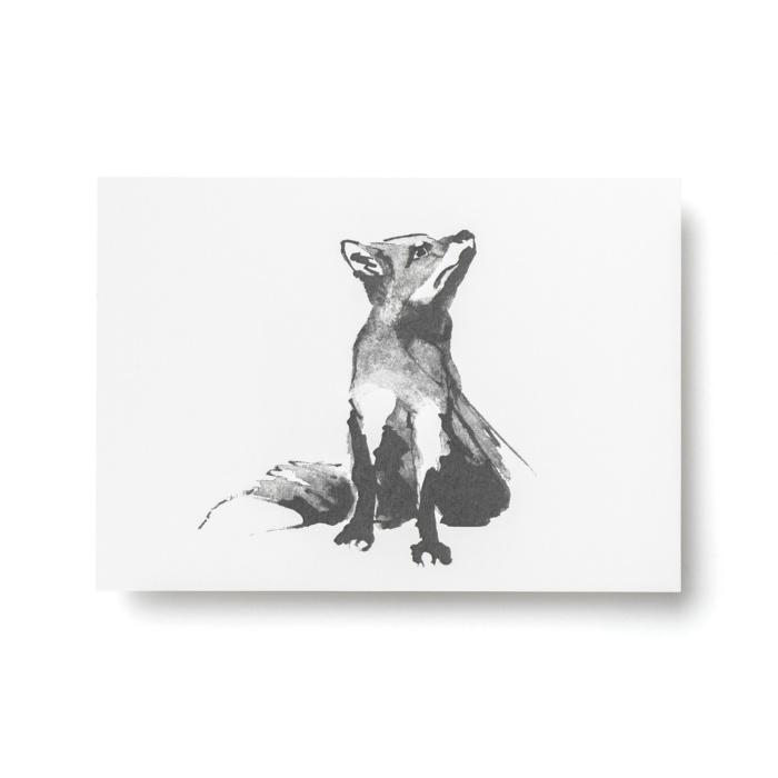 fox forest greetings postcard art print by teemu jarvi