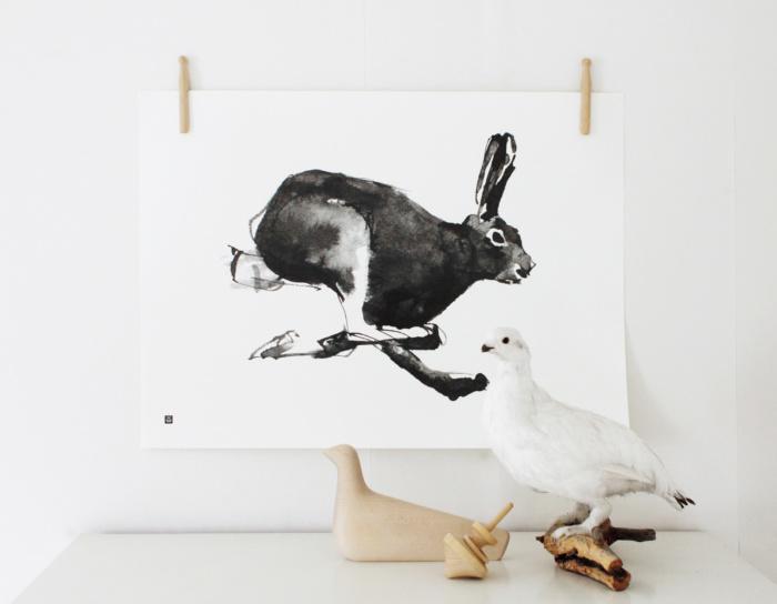 Black & white Hare wall decor