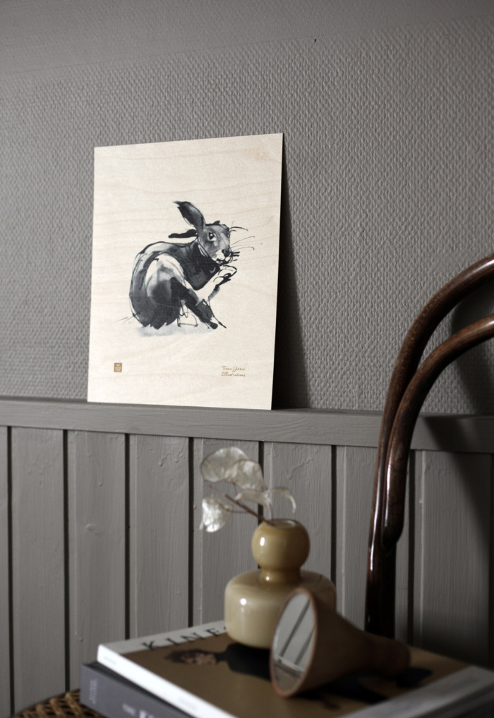 hare plywood poster art
