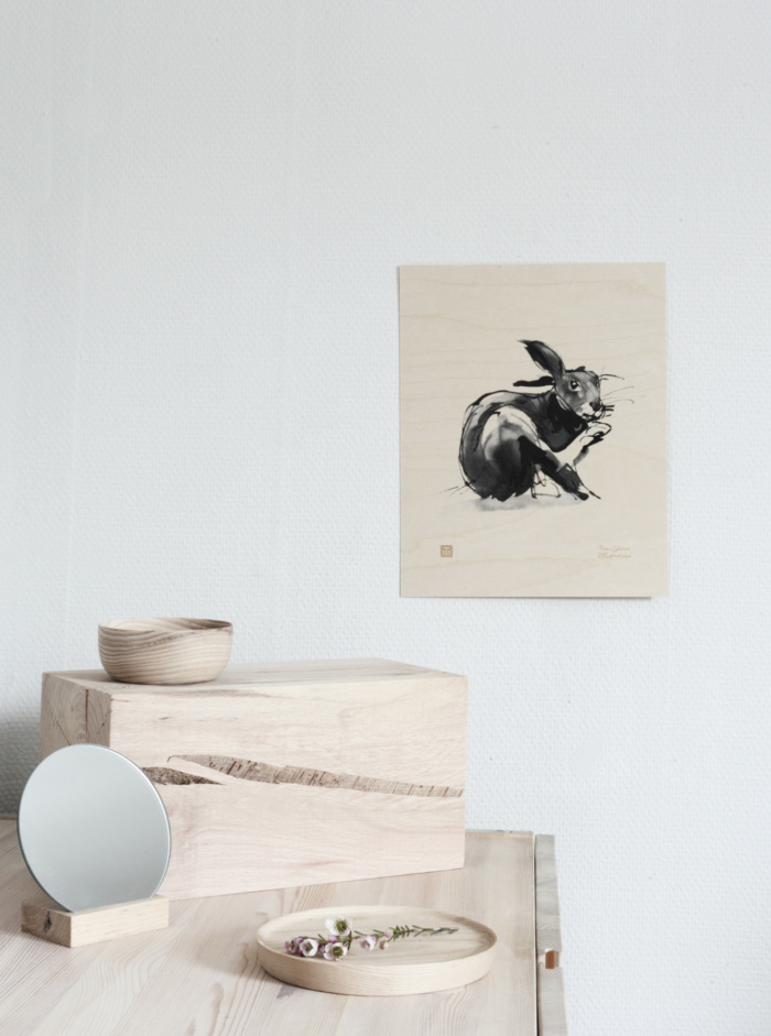 hare wooden poster