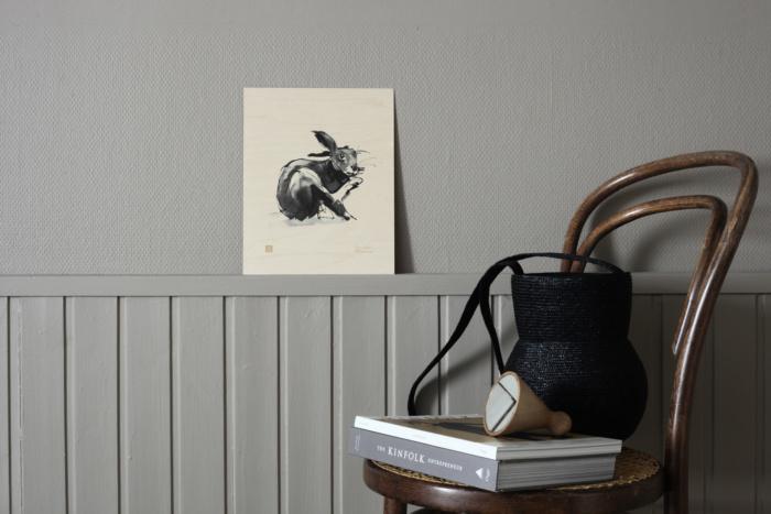 Hare plywood print