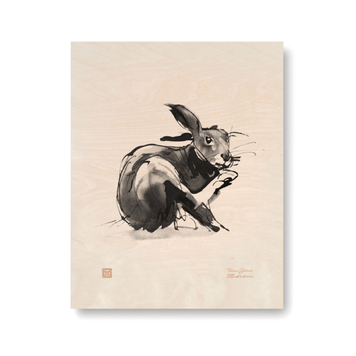 The European Hare scratches its nose in this art print on plywood