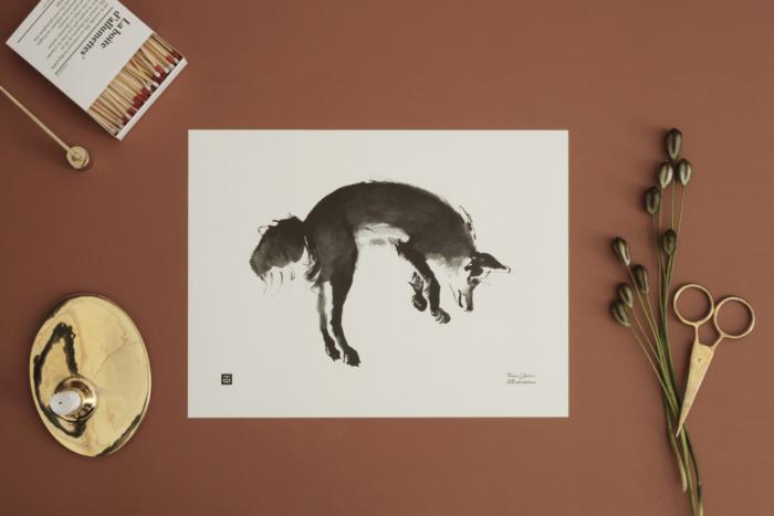 Black & white leaping fox print