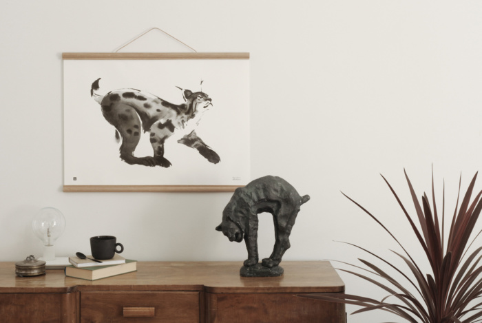 Lynx wall art with wooden frames