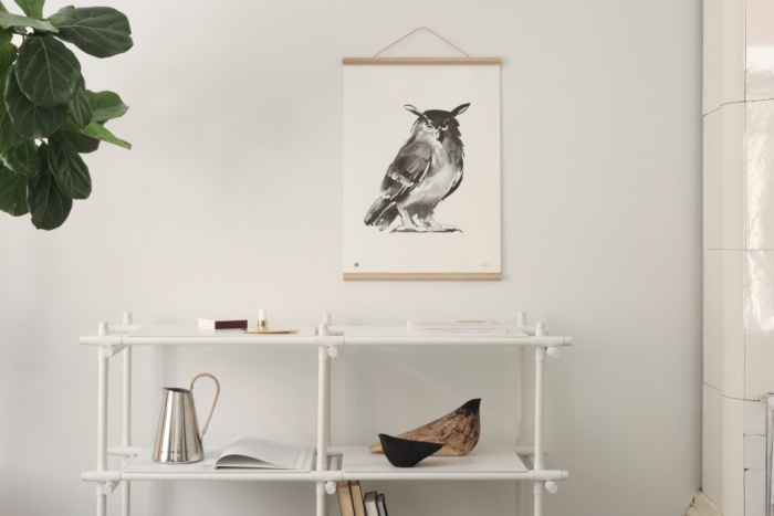 Owl wall art with wooden frames