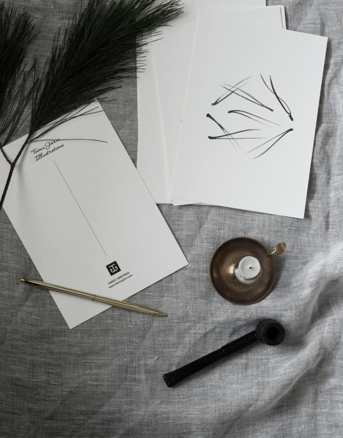 pine needle art print postcard set by teemu jarvi