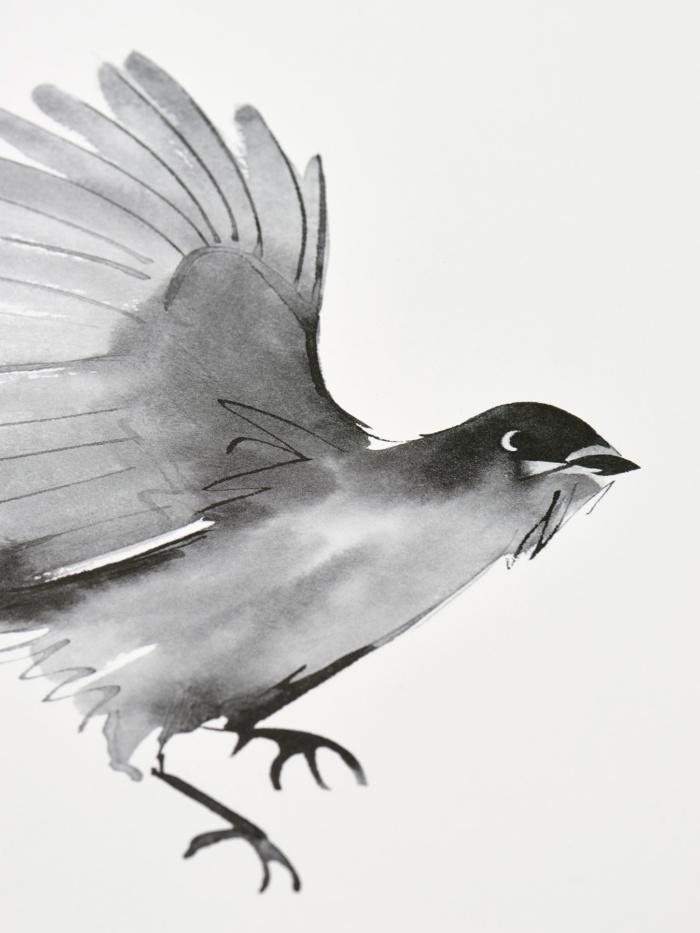 Black & white Siberian Jay wall decor