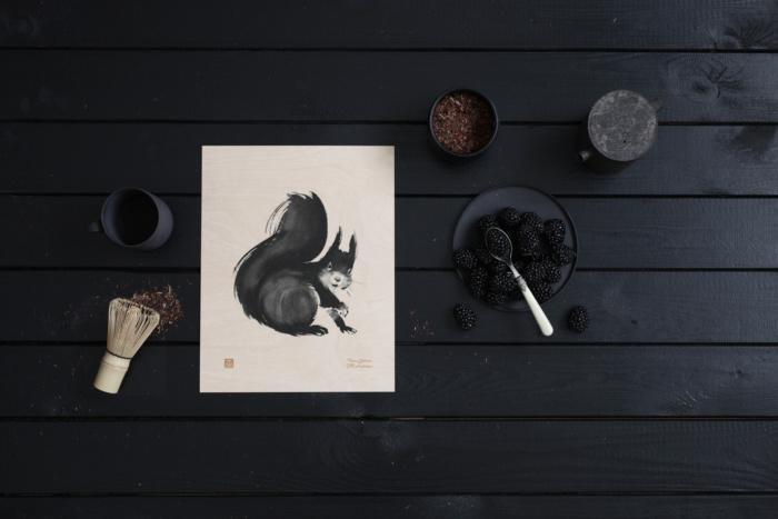 Squirrel wooden wall art