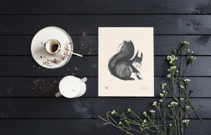 The curious little squirrel is captured on a plywood poster, a special art piece that brings positive energy to your home.