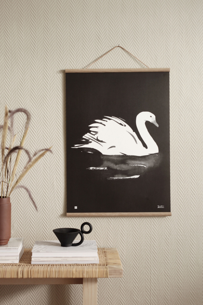 Swan wall art with wooden frames