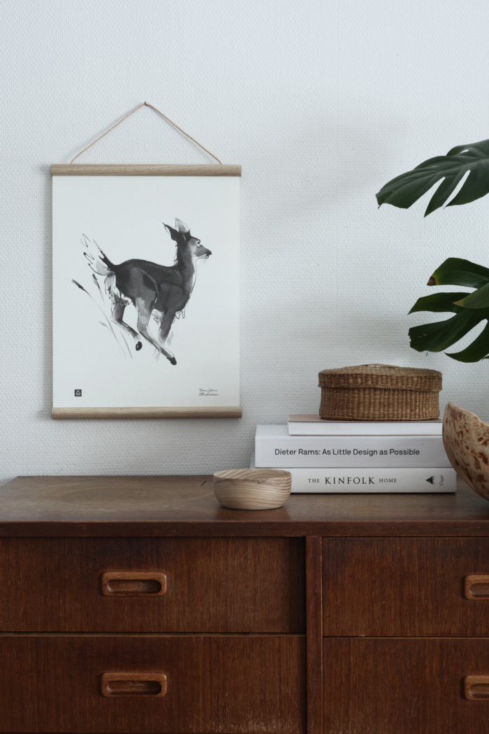 White tailed deer wall art with wooden frames
