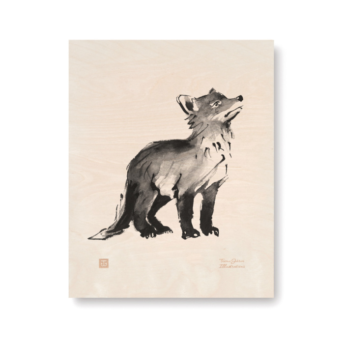 fox cub birch plywood art print