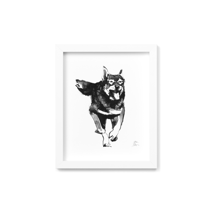 Elkhound dog framed wall art