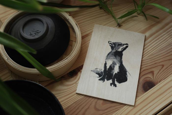 Birch plywood fox card