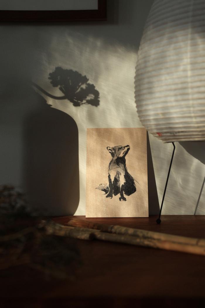 Birch plywood fox art card
