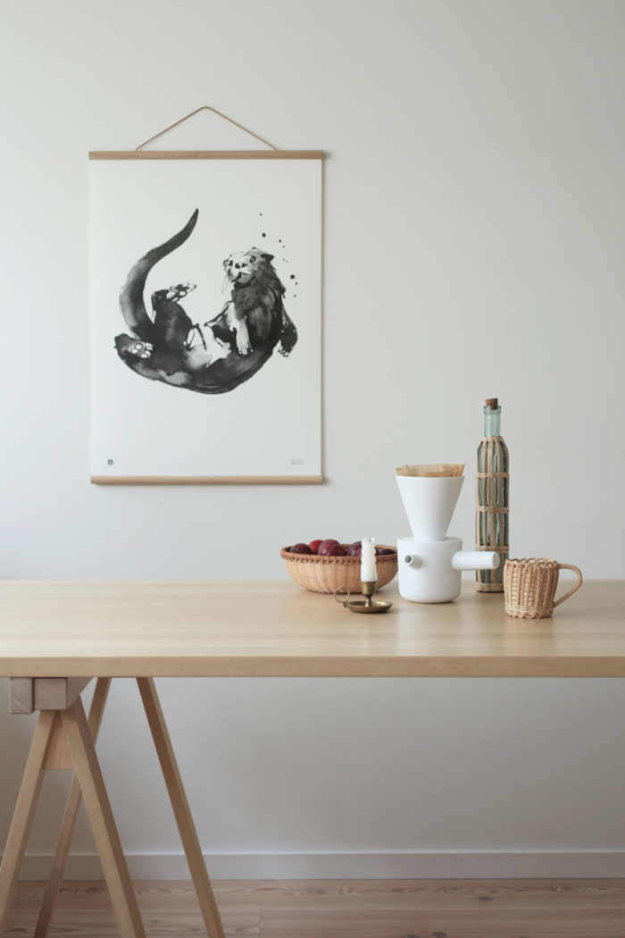 Otter wall art with wooden frames