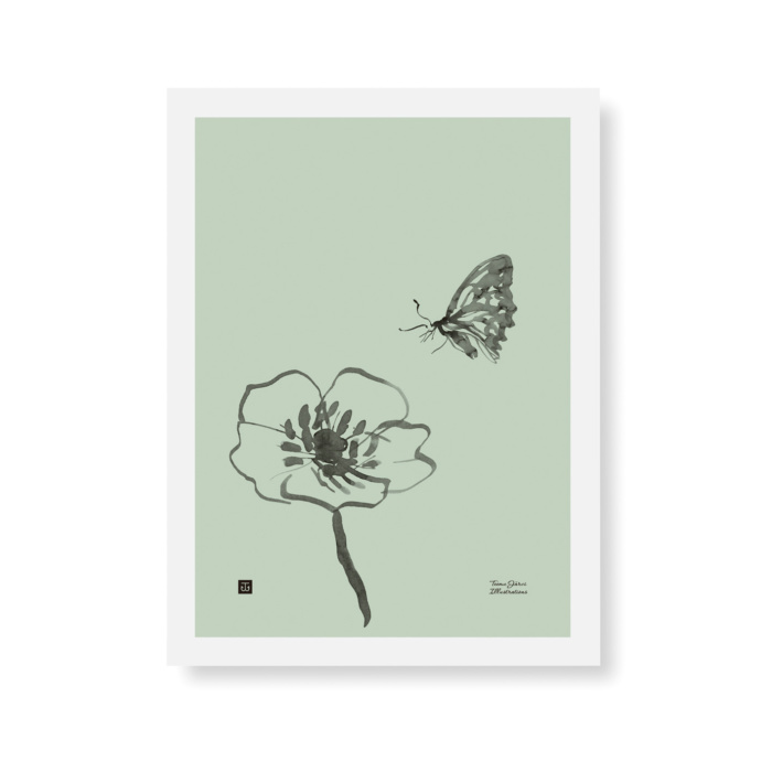 Mint Green colored butterfly wall art