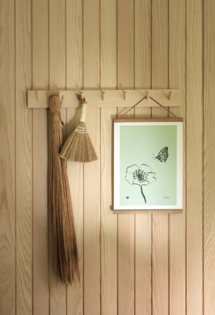 Spring green butterfly wall art on a wooden poster frame