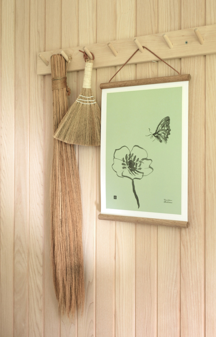 Spring green Butterfly poster on a wooden poster frame