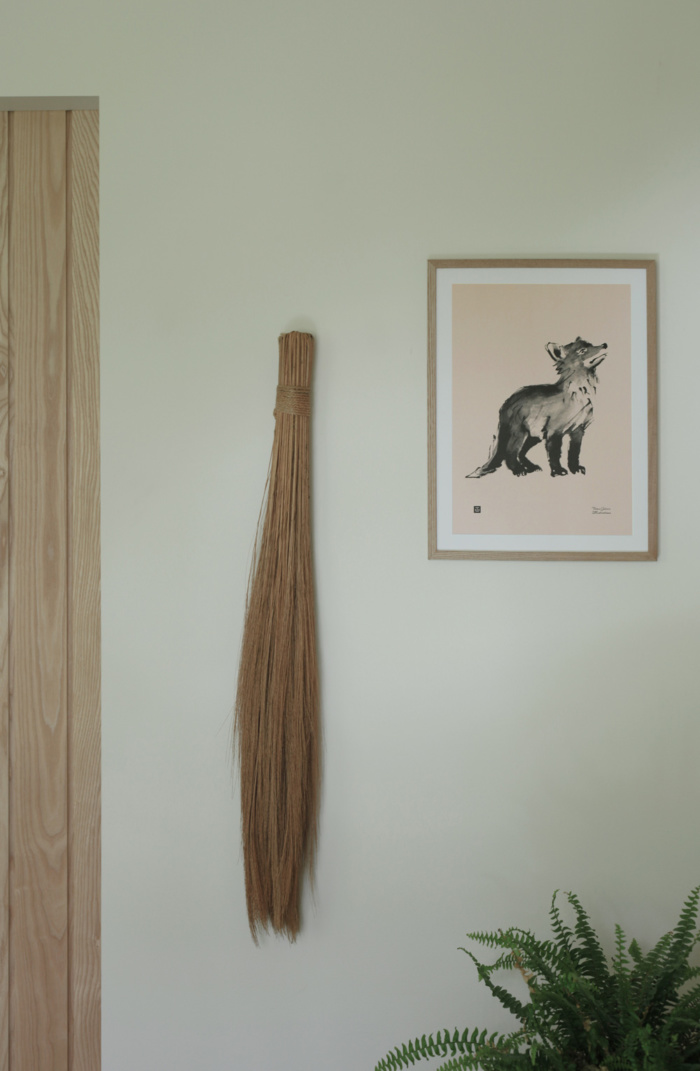 Old Rose colored Fox Cub art print on a wooden frame