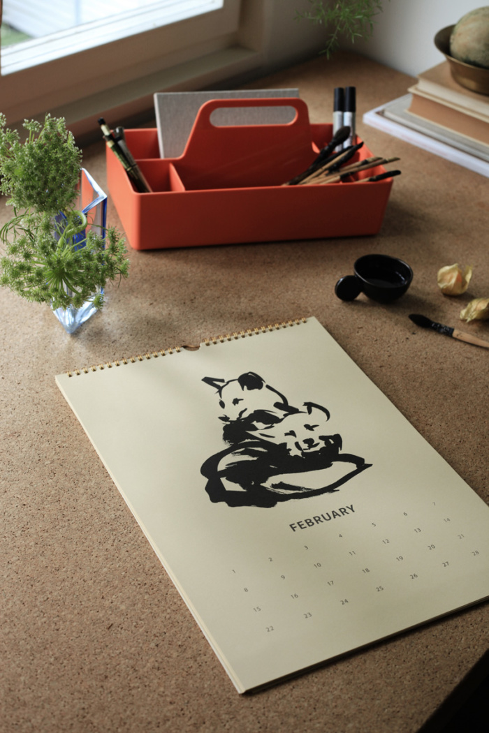 Fox Tales Calendar 2021 February on a table
