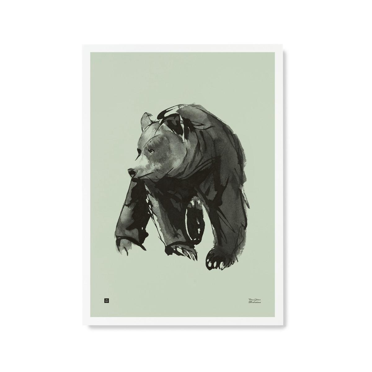 Lempeä karhu -juliste – keväänvihreä