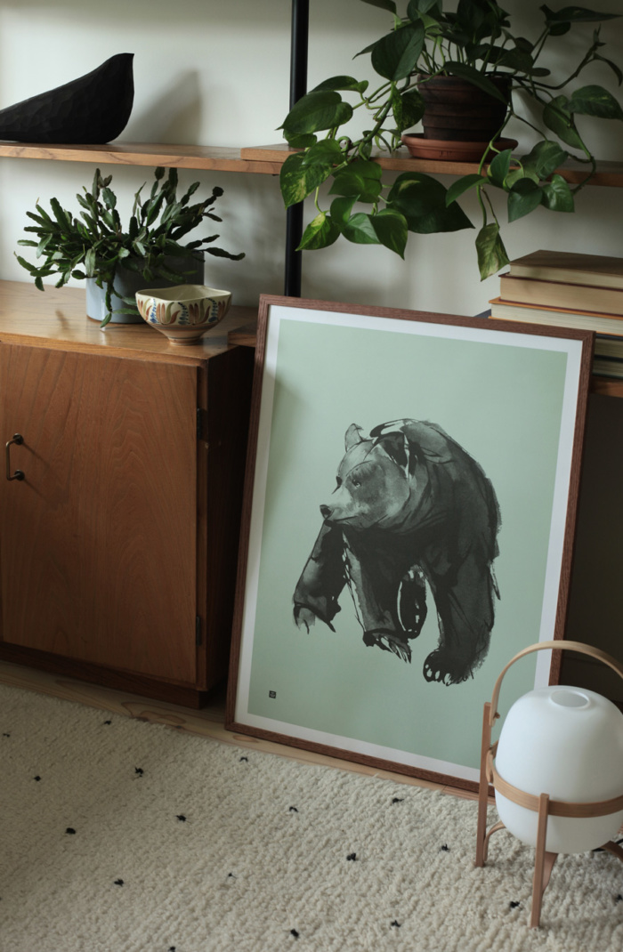 Spring green Gentle Bear wall decor on a wooden frame