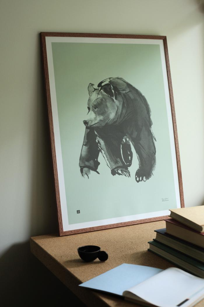 Mint green Gentle Bear Art Print on a wooden frame