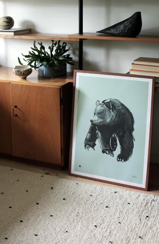 Mint green gentle bear poster in wooden frame