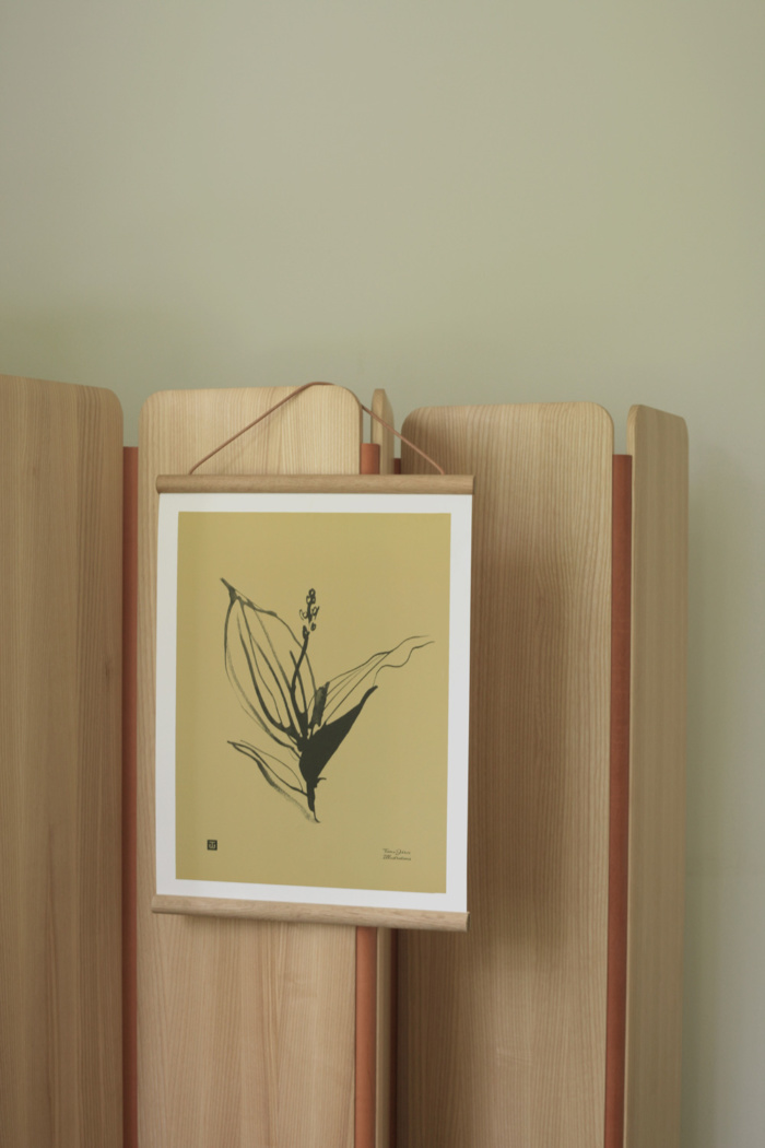 Sand & black colored Lily of the valley art print with wooden frame