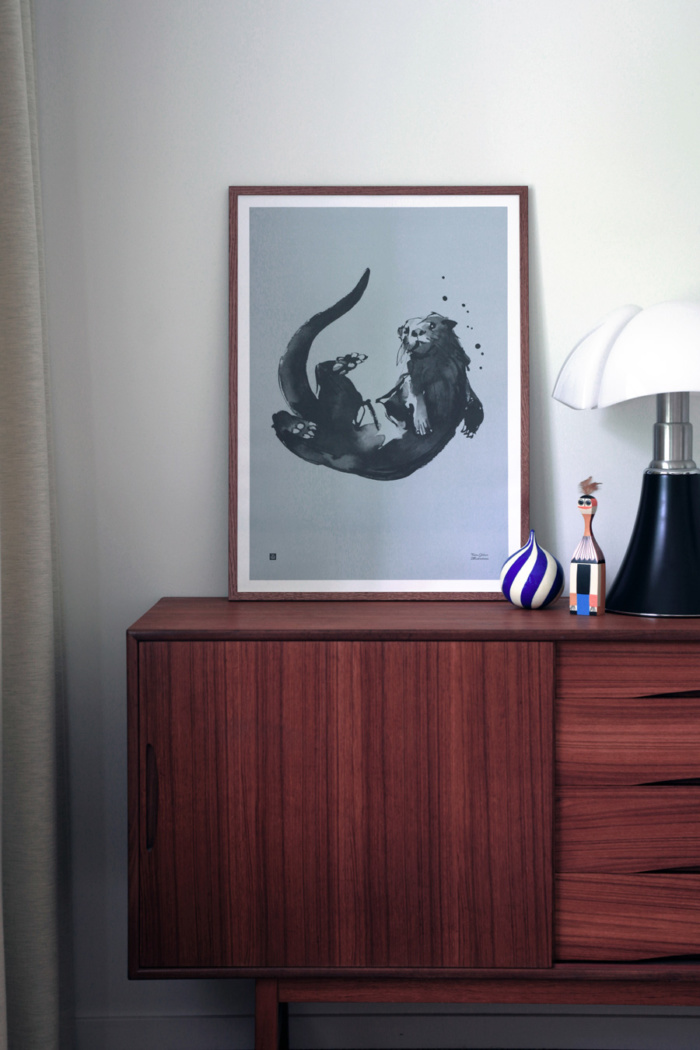Water blue Otter Poster in wooden frame